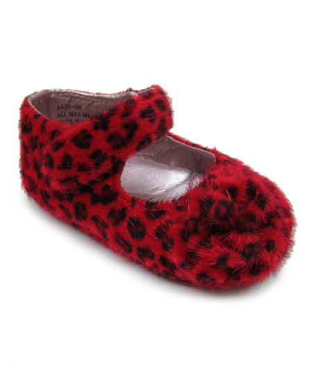 Red & Leopard Rosette Faux Fur Mary Jane
