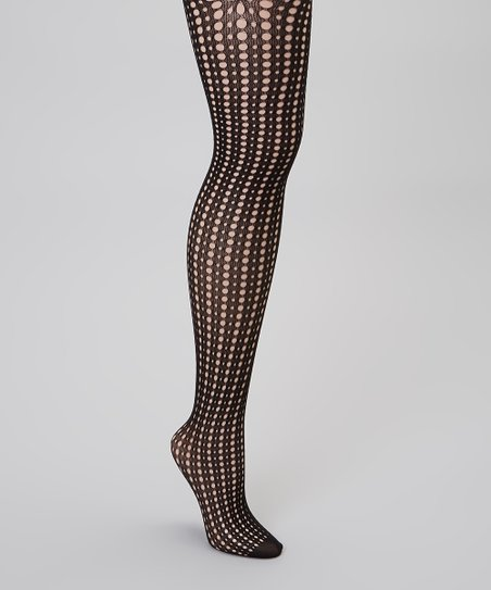 Black Polka Dot Fishnet Tights