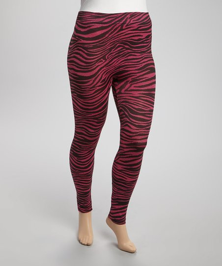 Fuchsia & Black Zebra Leggings - Plus