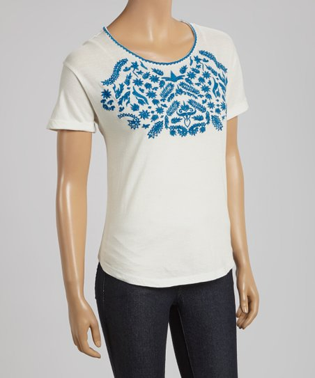 White & Navy Embroidered Short-Sleeve Top