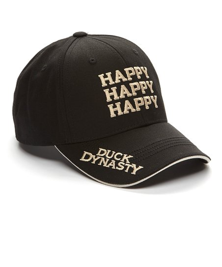 Black & White 'Happy Happy Happy' Baseball Cap