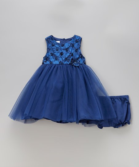 Blue Rosette Dress & Diaper Cover - Infant