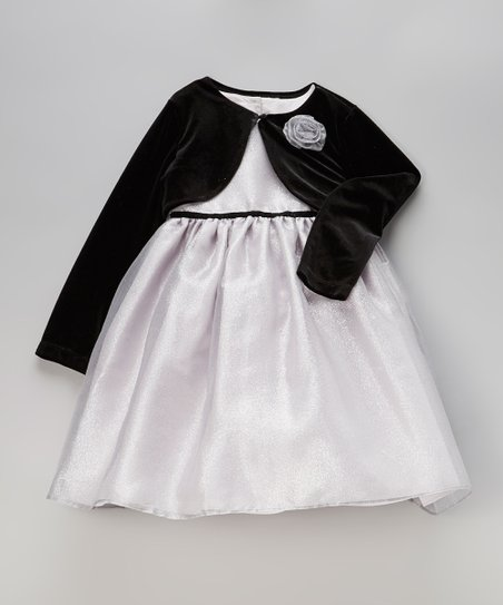 Silver Shimmer Dress & Black Bolero - Infant, Toddler & Girls