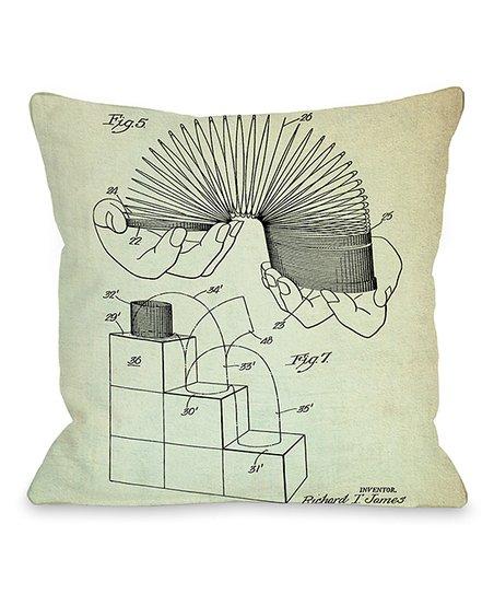 Black & White Slinky 1947 Blueprint Pillow