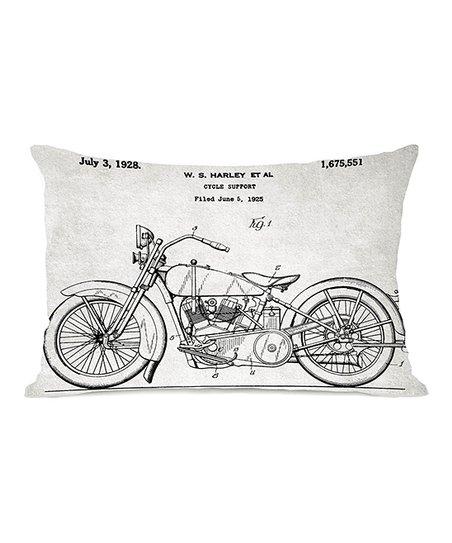 Black & White Harley 1928 Blueprint Pillow