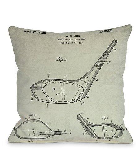 Black & White Golf Club Head 1926 Blueprint Pillow