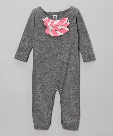 Gray & Neon Pink Stripe Ruffle Romper - Infant