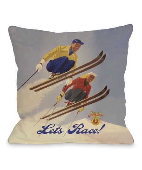 'Lets Race!' Vintage Ski Pillow