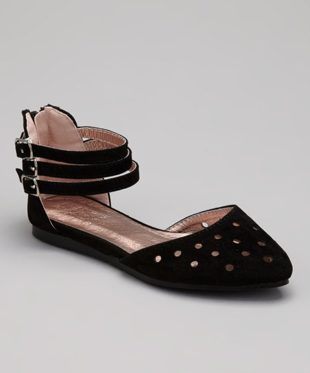 Black Perforated Ankle Strap Flat