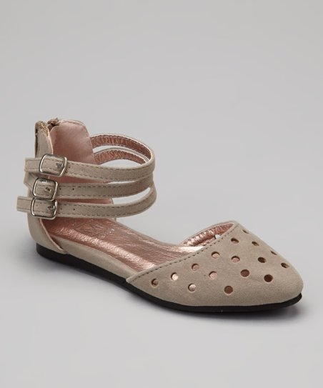 Taupe Perforated Ankle Strap Flat
