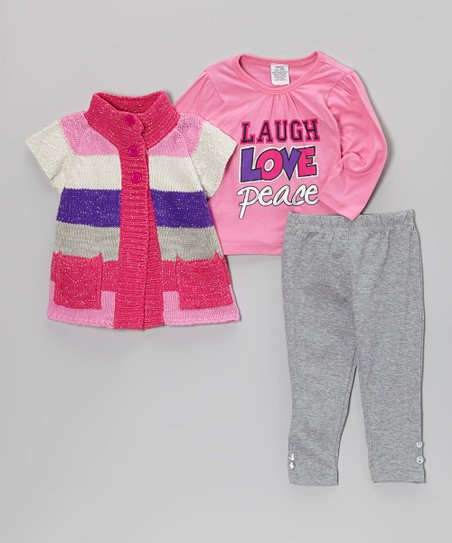 Fuchsia & Gray Double-Button Sweater Set - Infant & Toddler