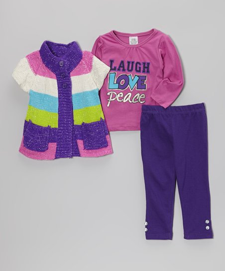 Purple & Lime Stripe Double-Button Sweater Set - Infant & Toddler