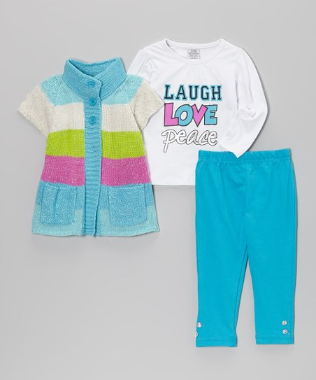 Blue & Green Stripe Double-Button Sweater Set - Infant & Toddler