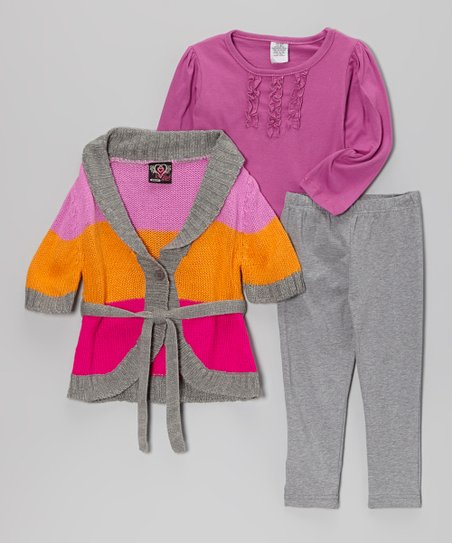Pink & Orange Shawl Collar Sweater Set - Infant & Toddler