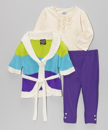 White & Purple Shawl Collar Sweater Set - Infant & Toddler
