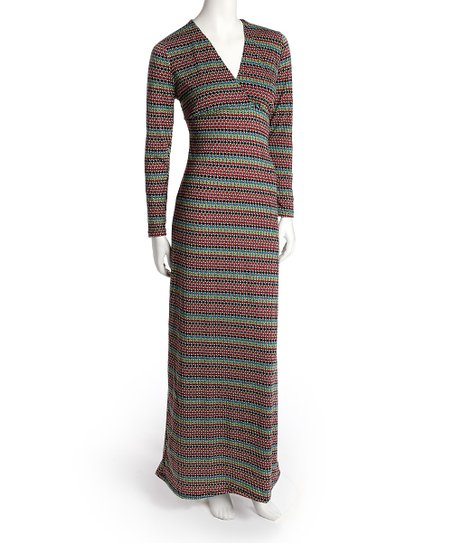 Wine Latticework Surplice Maxi Dress