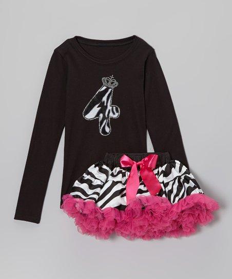 Black '4' Tee & Pink Zebra Pettiskirt - Girls