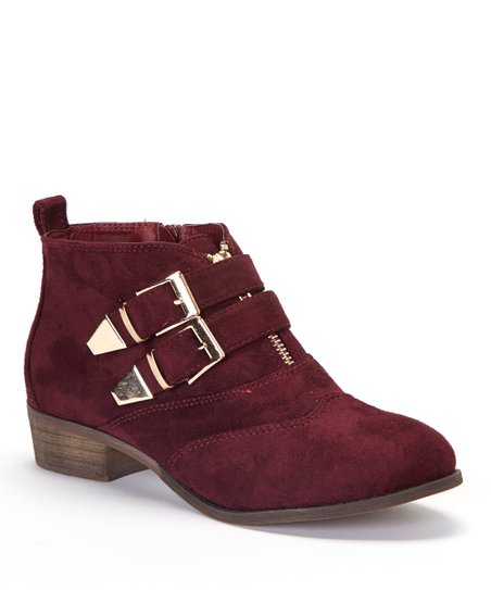 Burgundy Double Buckle Ankle Boot