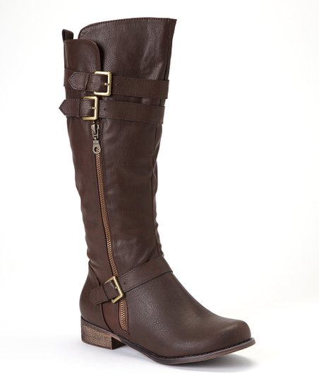 Brown Double-Buckle Grace Boot