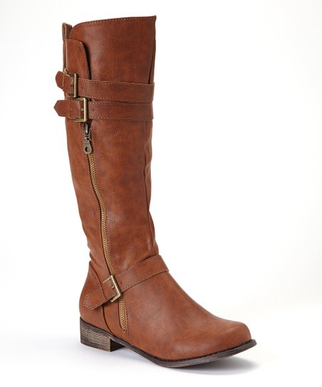 Cognac Double-Buckle Grace Boot