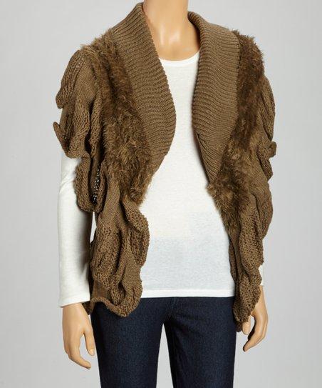 Olive Double-Knit Faux Fur Vest