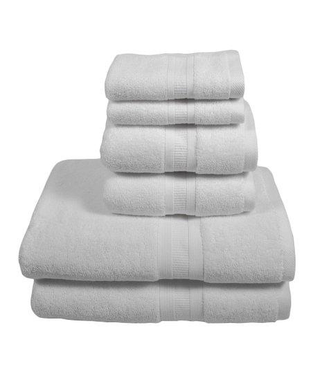 White Six-Piece Towel Set
