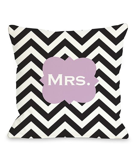 'Mrs.' Zigzag Throw Pillow