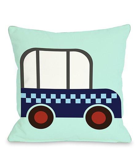Checkered Car Throw Pillow