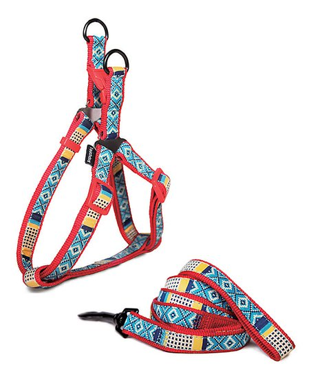 Blue & Red Southwest Harness & Leash