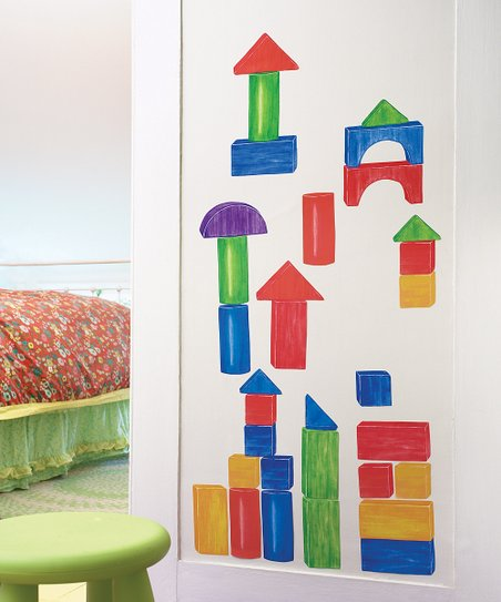 Wooden Blocks Wall Decal Set