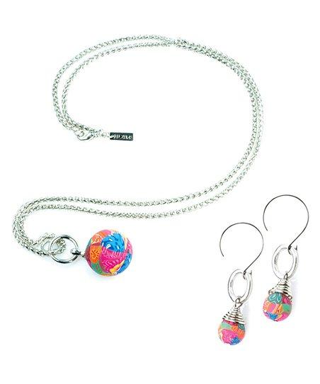 Blue Mosaic Bead Pendant Necklace & Earrings