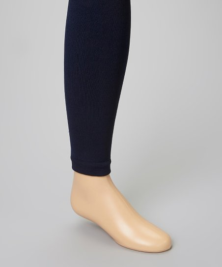 Navy Fleece-Lined Footless Tights - Infant, Toddler & Girls
