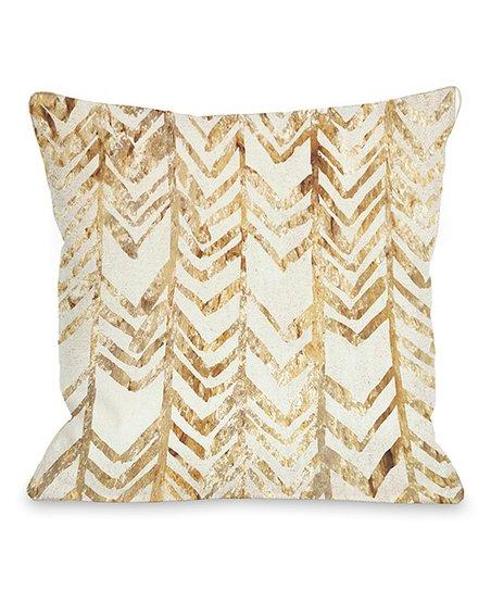 Gold Chevron Glitter Square Throw Pillow