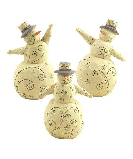 Winter White Snowflake Snowman Figurine Set