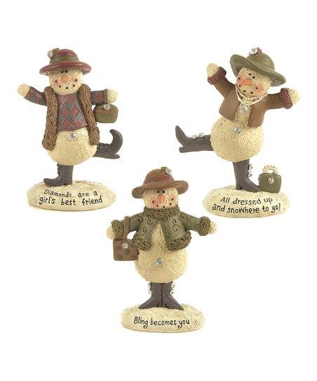 Bowler Hat Bling Snowman Figurine Set