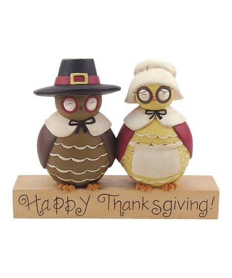 'Happy Thanksgiving' Pilgrim Owl Figurine