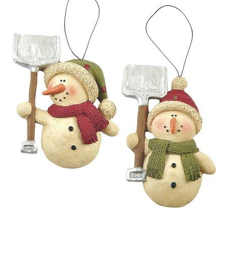 Shovel Snowman Ornament Set