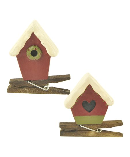 Red Birdhouse Clothespin Set