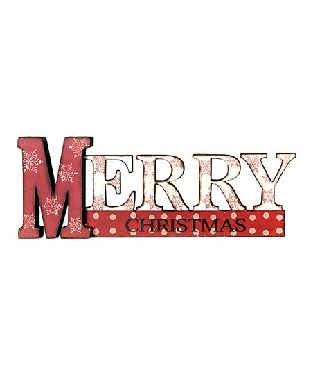 Red & White 'Merry Christmas' Snowflake Sign