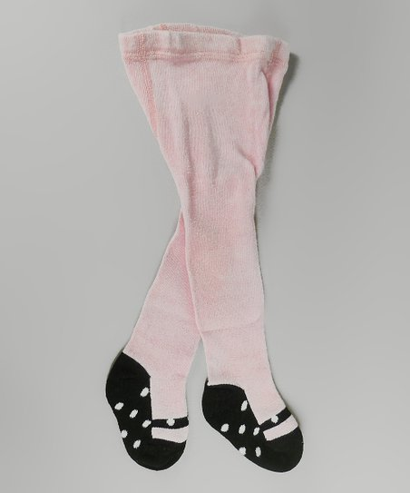 Pink & Black Polka Dot Mary Jane Tights