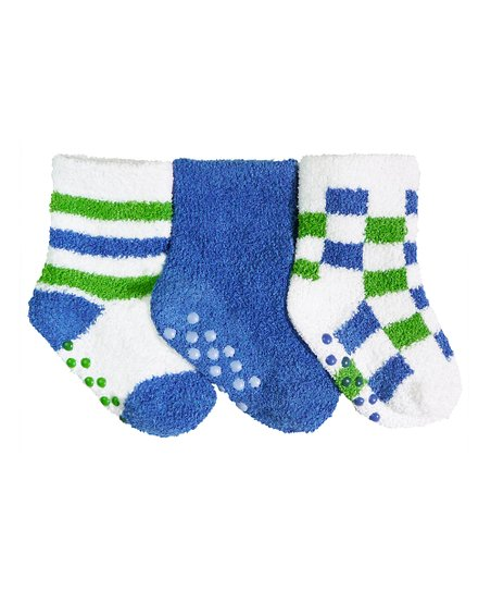 Blue & Green Checkerboard Gripper Sock Set