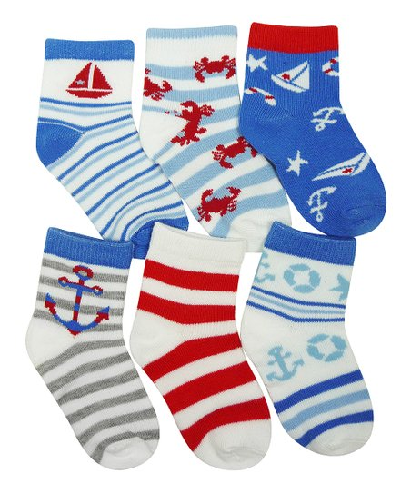 Red & Blue Stripe Anchor Sock Set