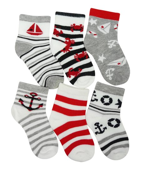 Gray & Red Stripe Anchor Sock Set