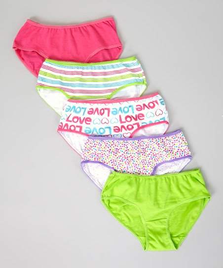 Pink & Lime 'Love' Stripe Underwear Set - Toddler
