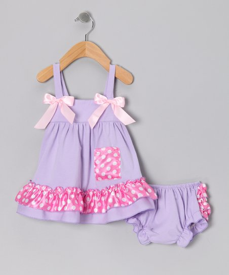 Lavender Polka Dot Swing Top & Diaper Cover - Infant