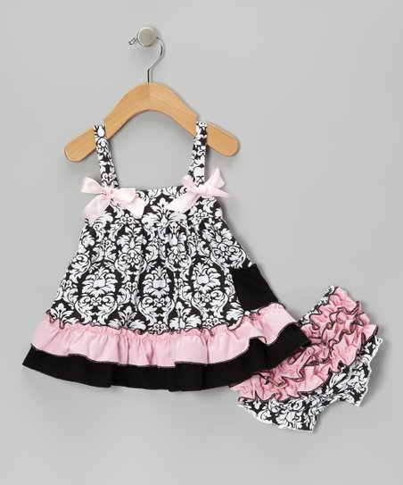 Pink & Black Damask Swing Top & Diaper Cover