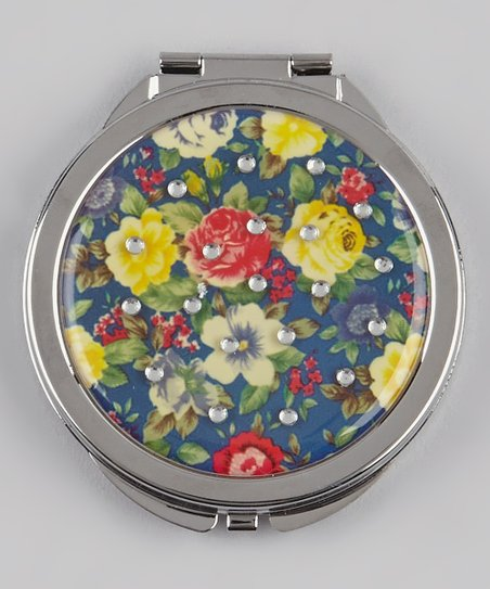 Blue & Red Rhinestone Floral Compact Mirror