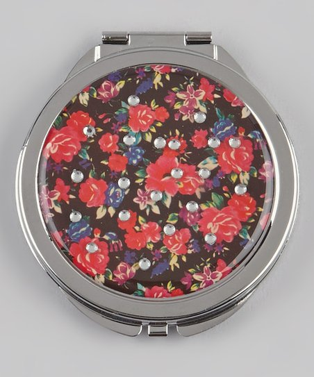 Black & Red Rhinestone Floral Compact Mirror