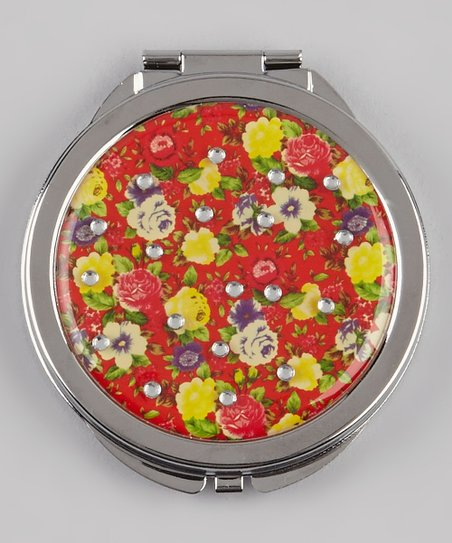 Red & Yellow  Rhinestone Floral Compact Mirror