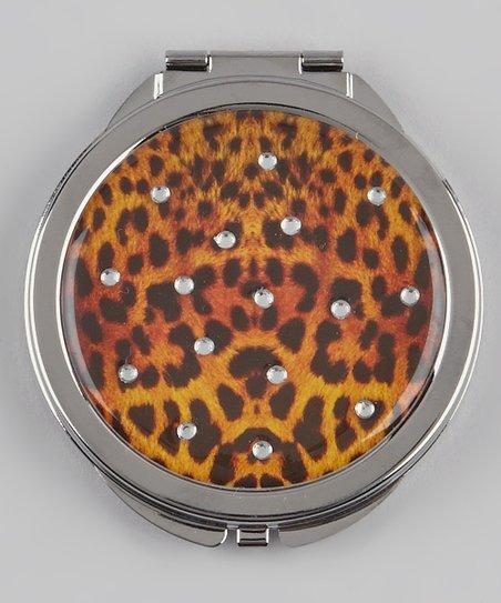 Orange & Black Rhinestone Leopard Compact Mirror